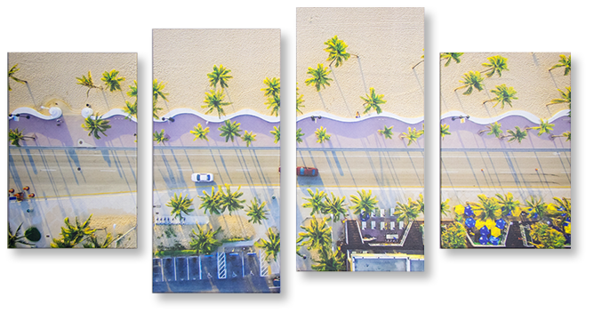 4 wavy panels canvas print of miami beach boardwalk