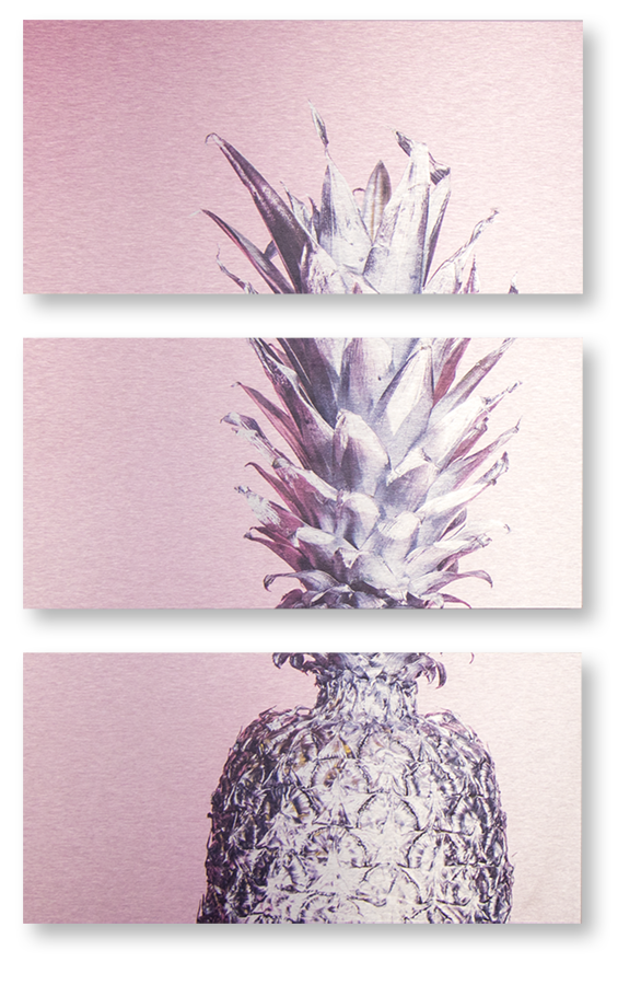 3 panels metal print of silver pineapple on pink background