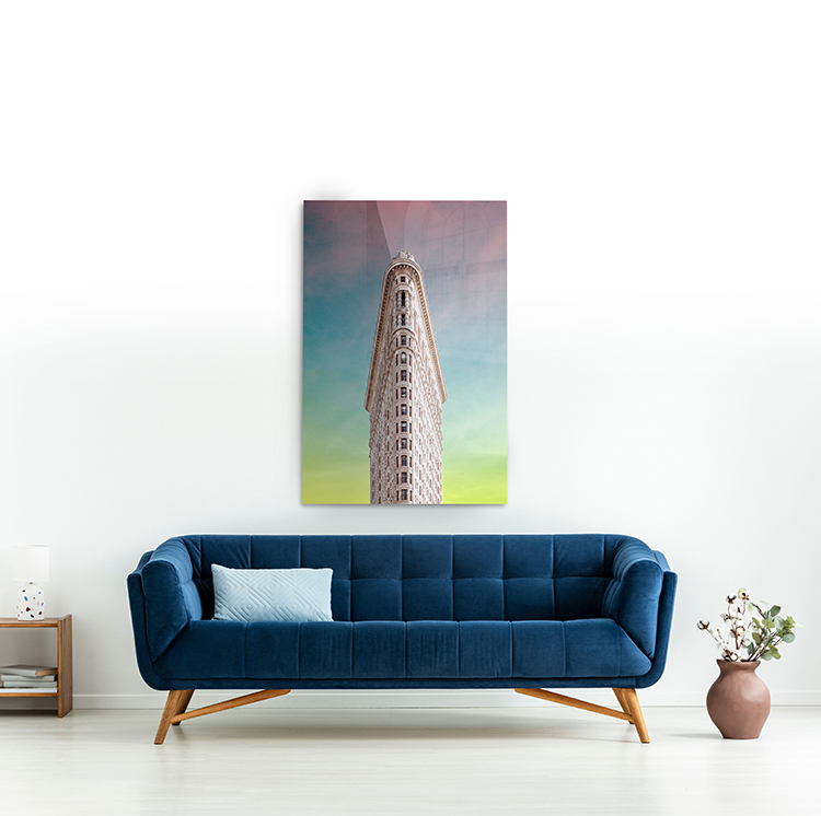 architectural acrylic print above blue couch