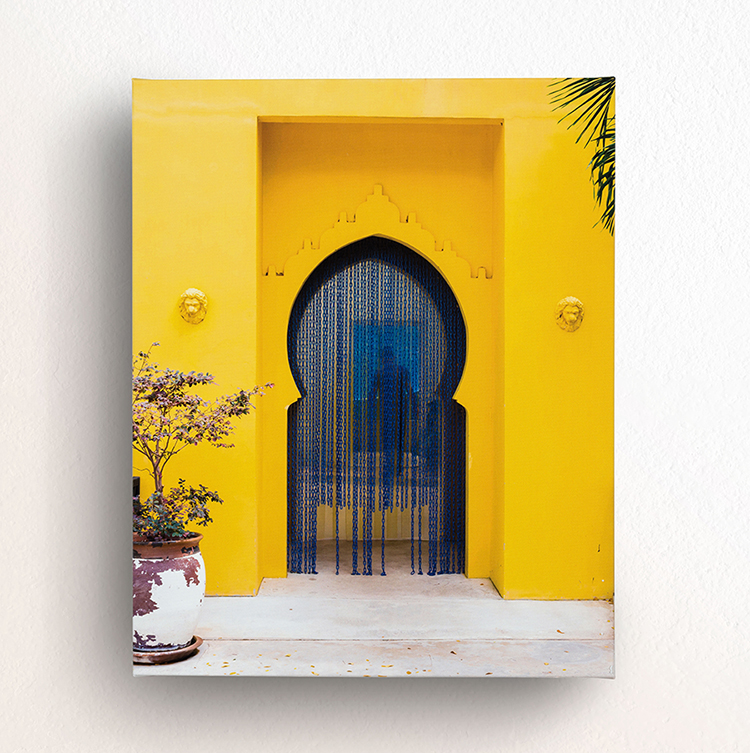 canvas print of blue morrocan door