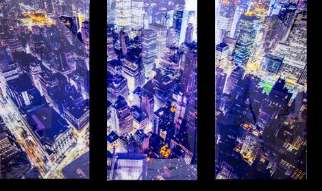 3 panels hd acrylic print of blue lighted city