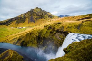 Iceland mountain with waterfall