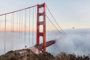 san francisco golden gate bridge in mist