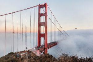 san francisco golden gate bridge in mist