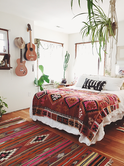 hippie bedroom with guitars