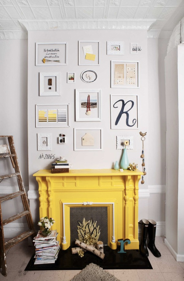 yellow fireplace