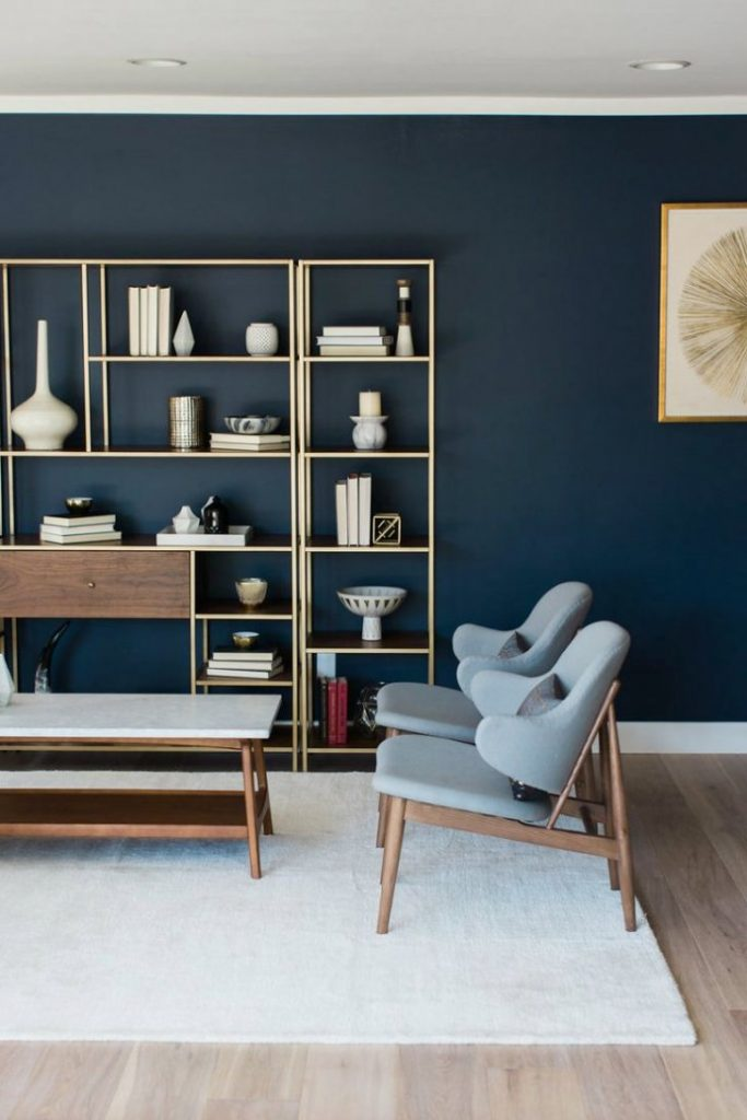 calssic living room with dark blue wall
