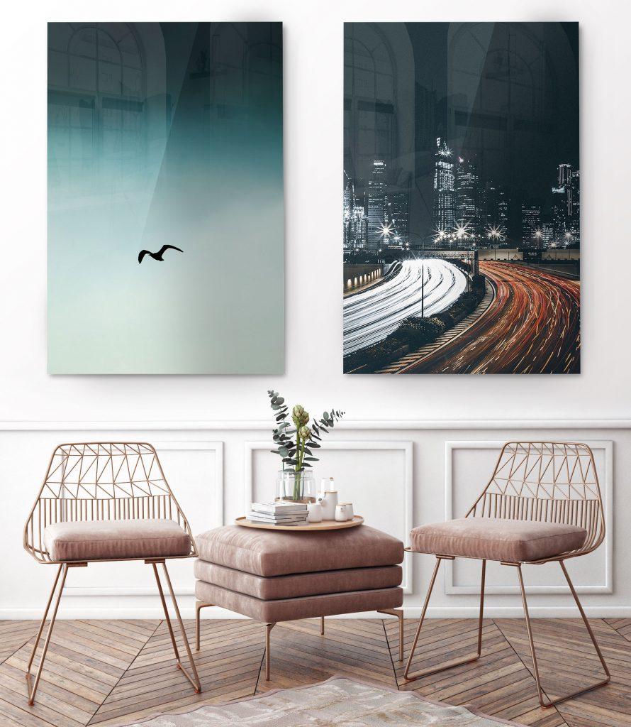 vibrant acrylic prints on wall