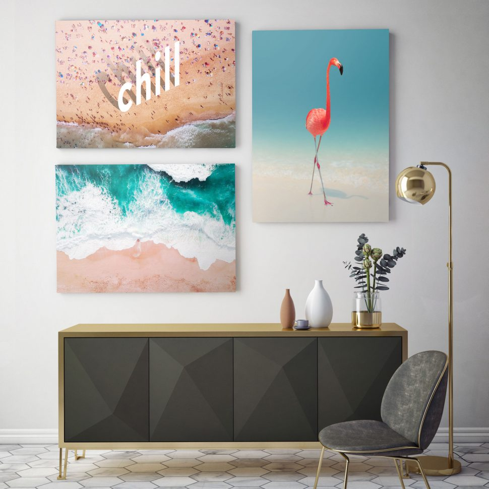vibrant canvas prints on wall
