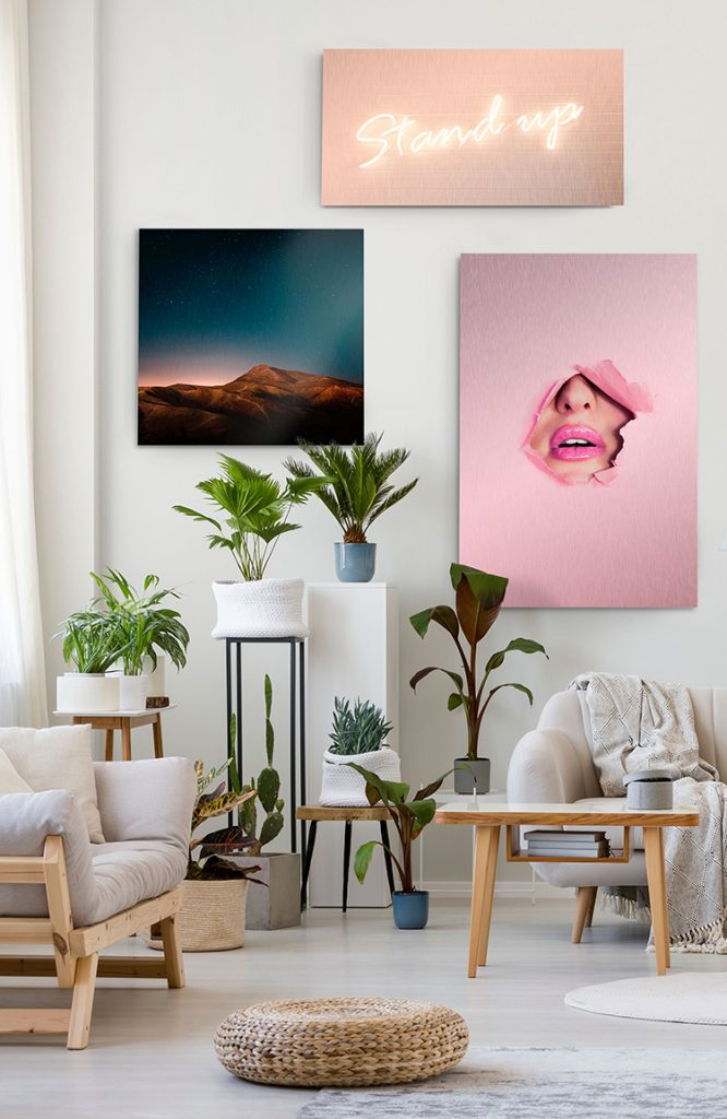 vibrant metal prints on wall