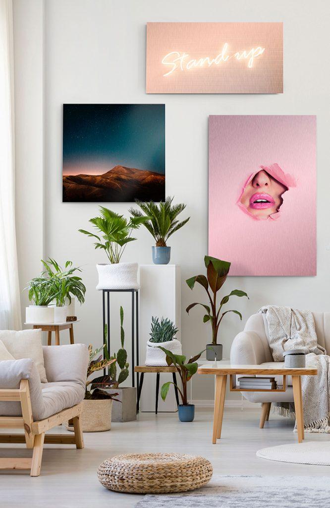 vibrant metal prints on wall
