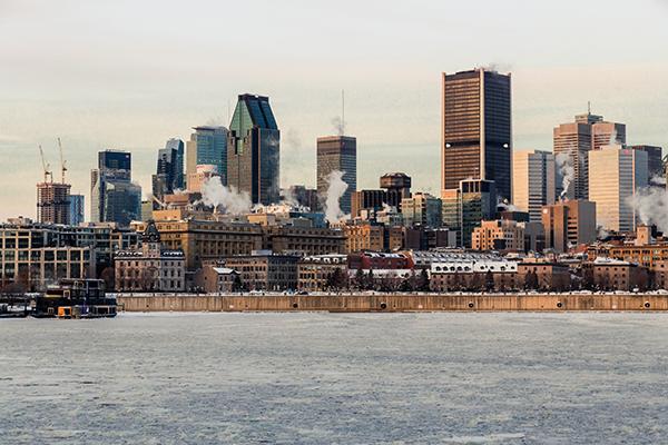 montreal skyline in winter morning