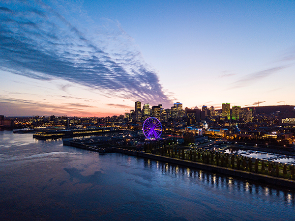 drone view montreal skyline