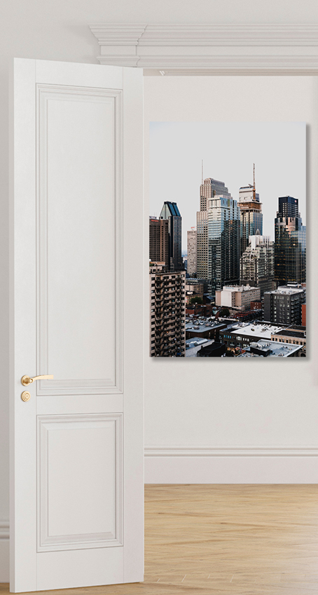 canvas print mark jefferson on white wall seen through door