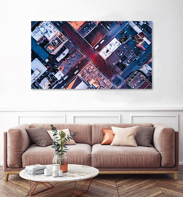 canvas print montreal drone view industrial in living room above couch