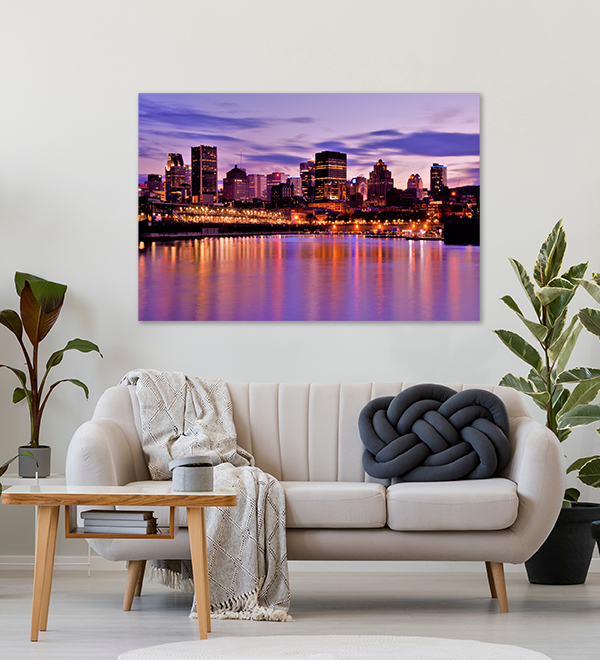 montreal old port canvas print above couch
